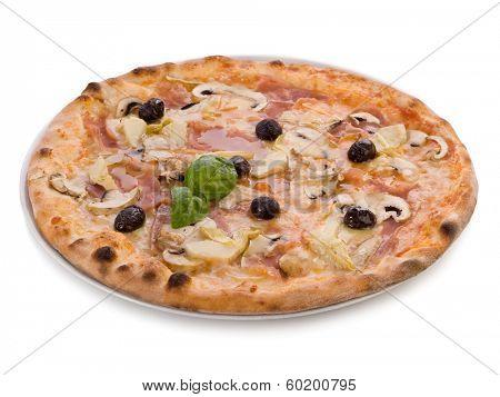 pizza capricciosa on white background poster