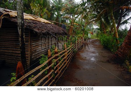 Timber Fence At Village