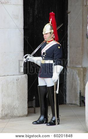 LONDON, ENGLAND - MAY 27: a member of the Royal Horse Guards and 1st Dragoons during the changing of the guards ceremony, May 27, 2013 in London, England