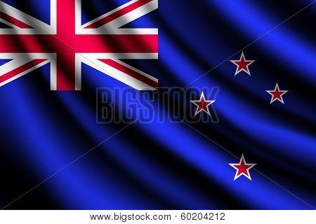 Waving flag of New Zealand