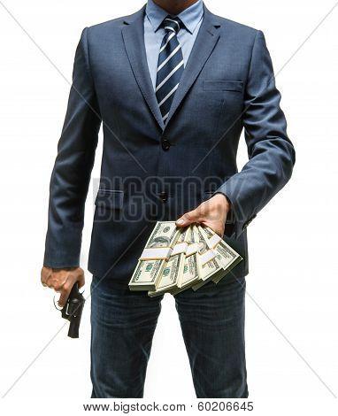 Gangster is taking money