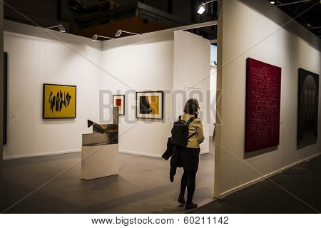 MADRID, SPAIN - 19 FEBRUARY 2014. ARCOmadrid contemporary art fair  begins its 33rd edition. Madrid, Spain