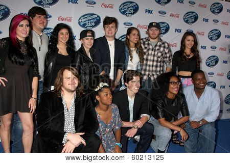 LOS ANGELES - FEB 20: Finalists of American Idol at the American Idol 13 Finalists Party at Fig & Olive on February 20, 2014 in West Hollywood, CA