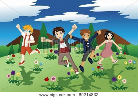 Children Running On The Open Field Of Wild Flowers