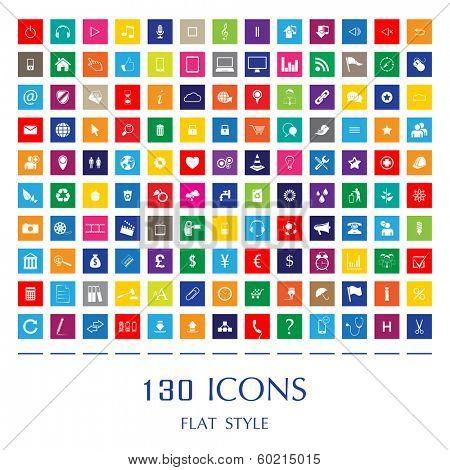 130 Web Icons. Flat Style