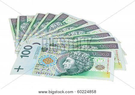Polish banknotes of 100 PLN (polish zloty) isolated on white background with clipping path poster