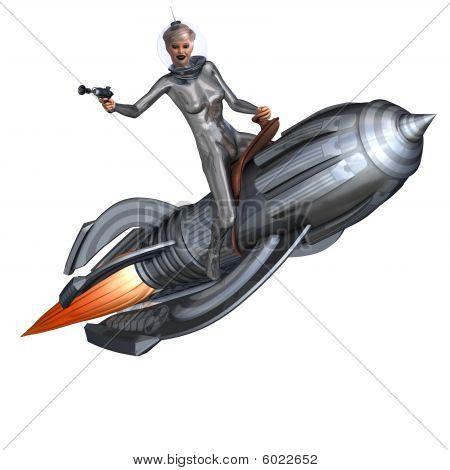 Silver Pin-up Girl Riding On A Retro Rocket