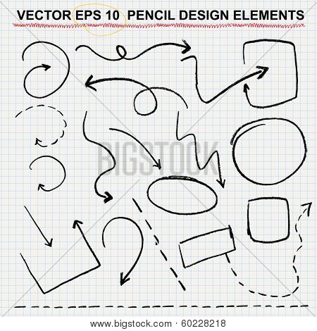 vector pencil design elements - color can be changed by one click