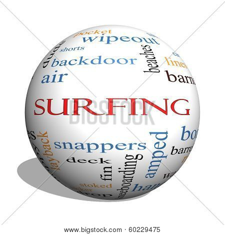 Surfing 3D sphere Word Cloud Concept with great terms such as summer board waves and more. poster