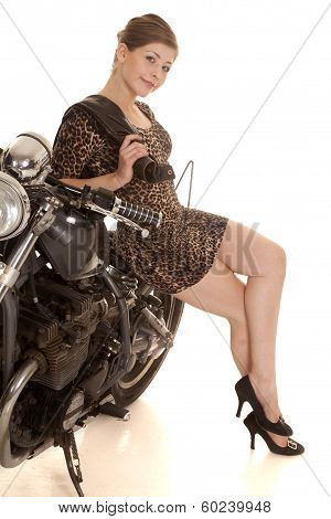 Woman Leopard Dress Motorcycle Lean Smile Legs