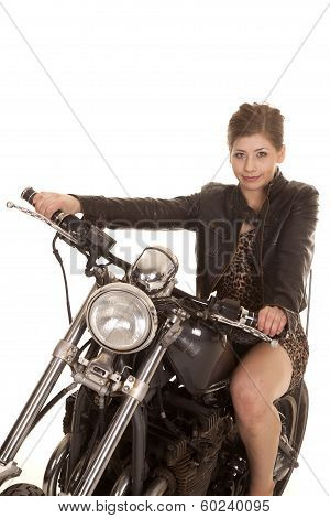 Woman Leopard Dress Motorcycle Sit Close