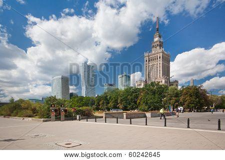 Skyline financial centre of Warsaw, Poland