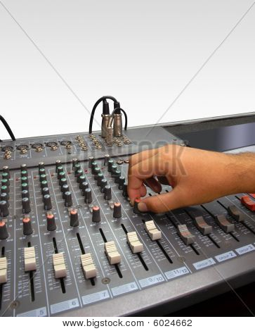Sound Mixer Console And Hand On White