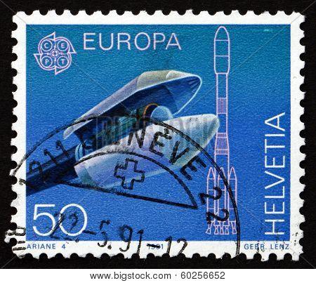 Postage Stamp Switzerland 1991 Ariane Payload Fairing