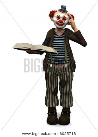 Smiling Clown Holding Book.