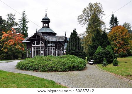 spa resort gazebo, Karlova Studanka,Czech Republic, Europe
