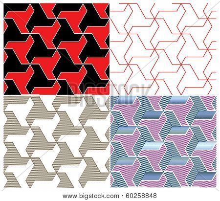 Set of Four Color Seamless Patterns. Triangle Elements. Vector Illustration