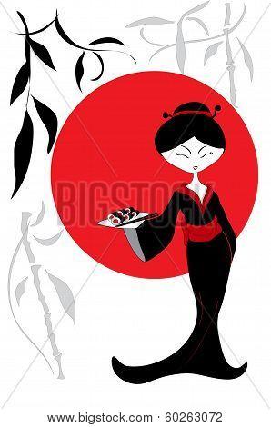 Beautiful Asian girl with sushi