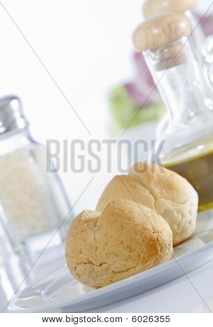 Close up view of nice delicious bread on white back poster