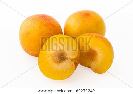 Yellow Plums, Whole And Cutted