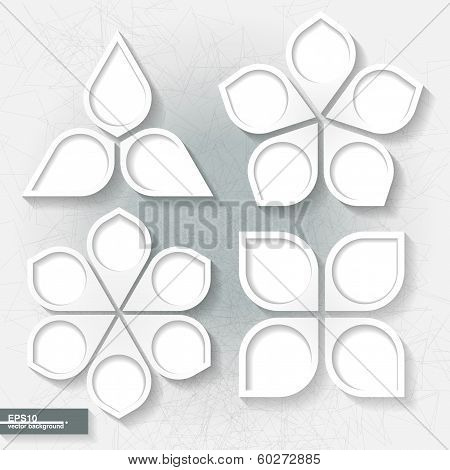 Set of infographic templates with three four five and six white paper labels. Eps10 poster