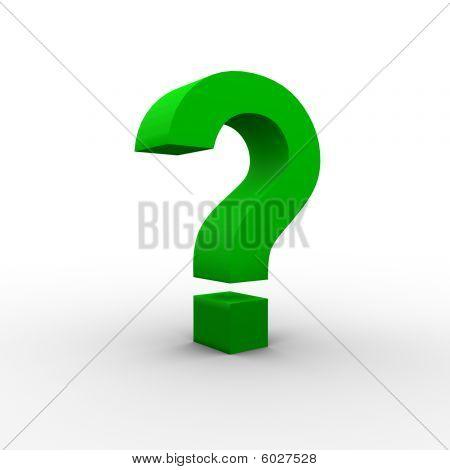 Green 3D question mark
