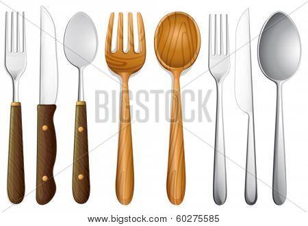Illustration of cutlery set on white