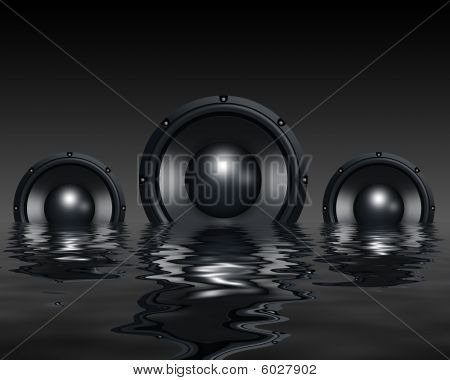Speakers in water