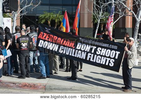 People Protesting At The Consulate Of Azerbaijan