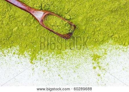 Border Of Powdered Green Tea Top View Close Up Isolated On White Background