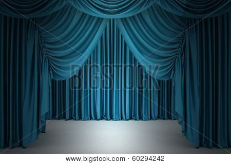 poster of Blue closed the curtain, lit by a spotlight