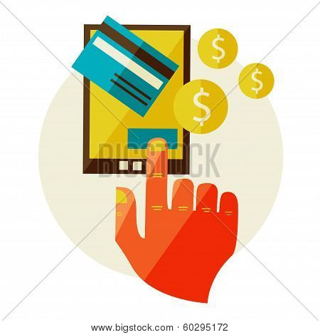 Flat design illustration in  modern stylish processing of mobile payments concept of hand touch screen, vector eps 10. Online purchase on digital tablet. poster