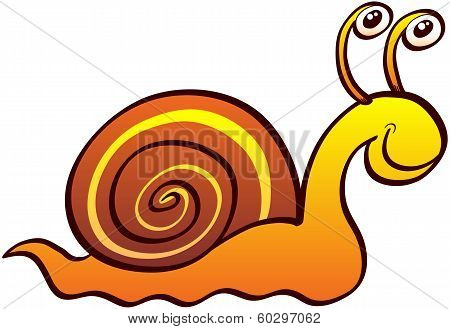 Nice land snail with funny eyes, brown spirally coiled shell and friendly expression while smiling and crawling slowly poster