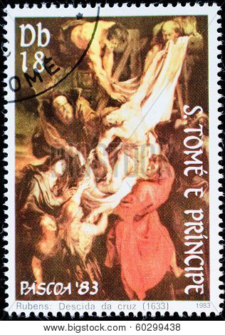 E. TOME AND PRINCIPE - CIRCA 1983: a stamp printed by E. TOME AND PRINCIPE shows Descida by cruz, series Rubens, circa 1983
