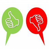 Colorful like and dislike vote icons in white background poster