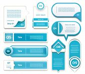 Set of blue vector progress version step icons. eps 10 poster