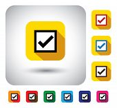 tick mark sign on button - flat design vector icon. This long shadows graphic symbol also represents approval right selection voting in a poll saying yes agreement verify options choosing poster