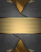 Design template - Golden texture with iron inserts and a gold nameplate poster