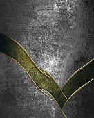 Design template - Iron grunge background with green neckline and gold trim poster