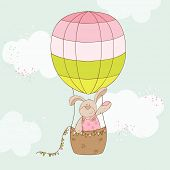 Baby Shower or Arrival Card - Baby Bunny with Air Balloon - in vector poster