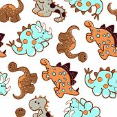 Cute dinosaurs in a repeat seamless pattern. poster
