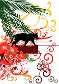 abstract vector illustration of banner and black panther poster