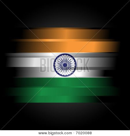 Abstract Flag Of India On Black Background
