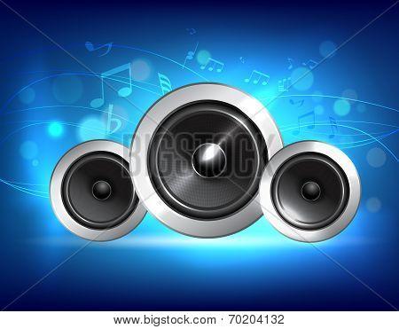 Audio speakers subwoofer system on blue music background concept vector illustration. poster