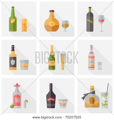 Various Alcoholic Beverages Flat Icons