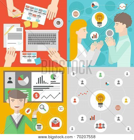 Business Meeting And Teamwork Flat Illustration