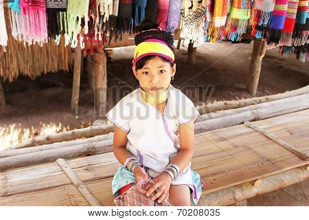 Unidentified Karen Tribal Girl Near Mae Hong Son, Thailand
