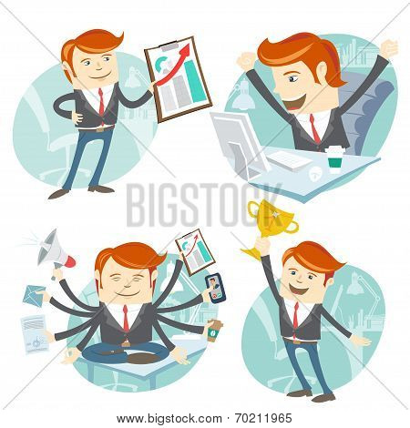 Office man hipster set: showing a graph, Happy worker at his des