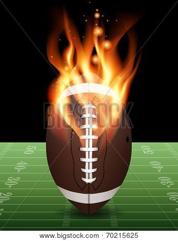 American Football On Fire Illustration