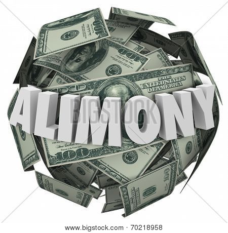 Alimony word in white 3d letters on a ball or sphere of money to illustrate financial spousal support of ex husband or wife